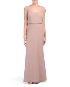 Crepe Gown With Embellished Waist