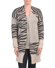 Made In Italy Jacquard Open Cardigan