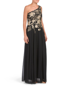 One Shoulder Floral Embroidered Gown