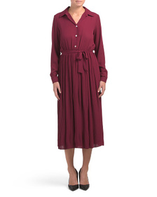 Made In Italy Pleated Midi Shirt Dress