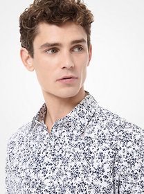 Michael Kors Slim-Fit Abstract Floral Stretch Cott