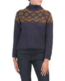 Made In Italy Mock Neck Fair Isle Sweater