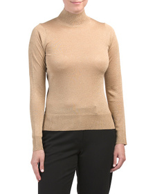 Shimmer Turtleneck Knit Top