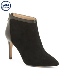 Pointy Toe Suede And Leather Ankle Booties