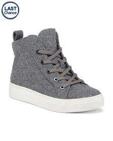 Flannel High Top Lace Up Sneakers