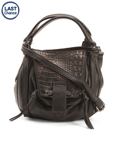 Leather Crossbody With Croc Embossed Detail