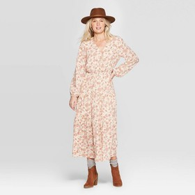 Women's Floral Print Long Sleeve V-Neck Tiered Max