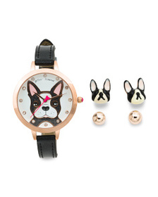 BETSEY JOHNSON Women's Set Of Frenchie Dog Watch A
