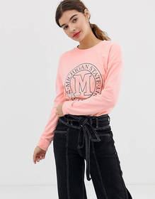 New Look sweat with slogan in light pink