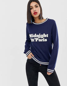 Warehouse slogan sweatshirt with contrast tipping