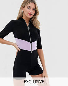 Another Reason unitard with chevron contrast panel
