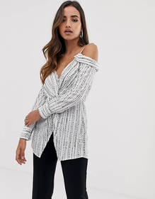 Parallel Lines off shoulder blouse in abstract spo