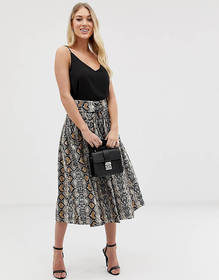 C by Cubic snake print pleated midi skirt