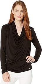 MICHAEL Michael Kors Long Sleeve Leather Yoke Cowl