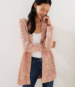 Marled Shirttail Open Cardigan