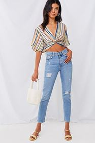 Forever21 Striped Twisted Crop Top
