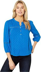 Lucky Brand Inset Lace Popover Blouse