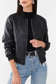 Forever21 Faux Leather Bomber Jacket