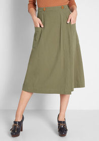 Louche Louche Wrap My Way A-Line Skirt Olive Green