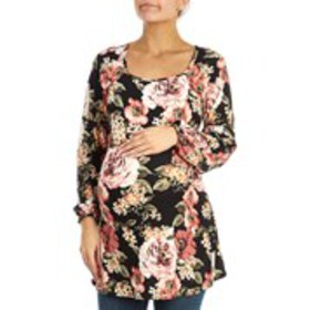 TOP FASHION Floral Keyhole Back Maternity Tunic