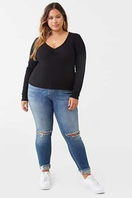 Forever21 Plus Size Ruched V-Neck Top