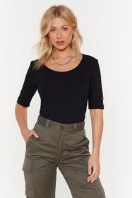 Nasty Gal Womens Black All Eyes Button Me Ribbed T