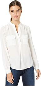 Splendid Silk Mix Media Button Up Blouse