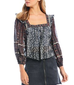 Free People Mostly Meadow Floral Print Square Neck