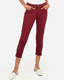 Express mid rise burgundy cropped double roll legg