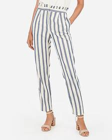 Express striped high waisted ruffle top ankle pant