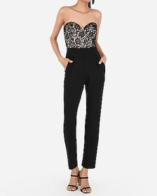 Express lace bodice strapless sweetheart jumpsuit