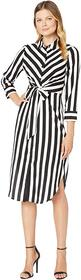 Vince Camuto Long Sleeve Bold Stripe Tie Front Shi