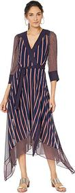 BCBGMAXAZRIA Woven Stripe Wrap Dress