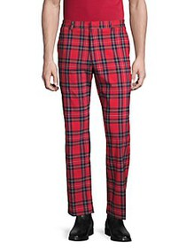 Tommy Hilfiger Plaid Flat-Front Pants RED NAVY