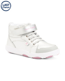 Wide Hightop Comfort Leather Sneakers (Toddler)