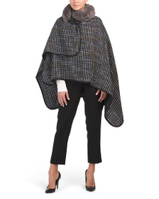 JONES NEW YORK Tweed Toggle Wrap With Faux Mink Co