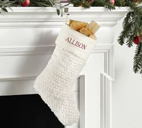 Pottery Barn Faux Fur Stocking - Honeycomb