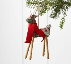 Pottery Barn Plaid Reindeer Ornament