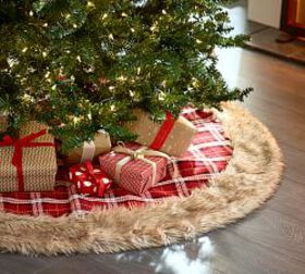 Pottery Barn Faux Fur and Plaid Tree Skirt