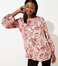 Maternity Floral Draped Sleeve Top