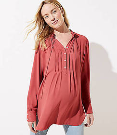 Maternity Pintucked Tie Neck Tunic Blouse