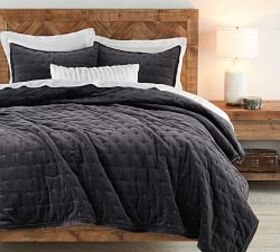 Pottery Barn Velvet Tufted Quilt & Shams - Charcoa