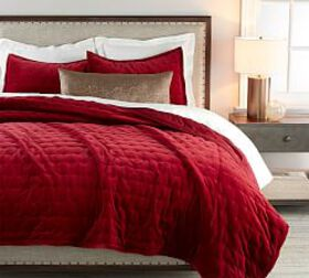Pottery Barn Velvet Tufted Quilt & Shams - Ruby
