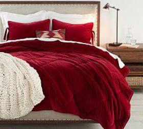 Pottery Barn Velvet Comforter & Shams - Ruby