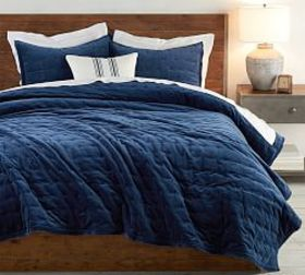 Pottery Barn Velvet Tufted Quilt & Shams - Stormy