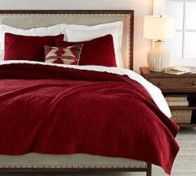 Pottery Barn Velvet Medallion Quilt & Shams - Ruby