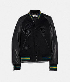 Coach viper room varsity jacket with patches