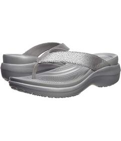 Crocs Capri Metallic Text Wedge Flip