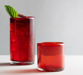 Pottery Barn Santino Red Recycled Cocktail Glasses