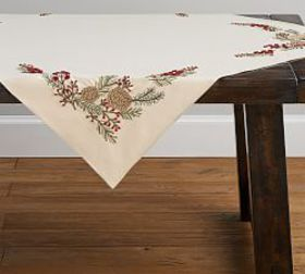 Pottery Barn Embroidered Pinecone Table Throw